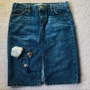 Distressed denim skirt by the Gap size 2